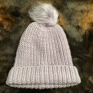 Treasure and Bond Knit Beanie with Faux Fur Pom